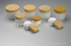 PP cream jar with Water transfer screw cap wooden lid