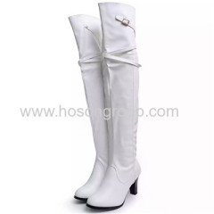 Mulheres white PU leather thigh high lady boots