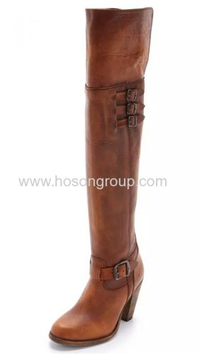 Mulheres buckle thigh high women boot