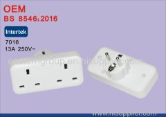 High Quality BS EU to 2 Port UK Travel Power Plug Adapter Converter