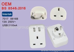 High Quality BS EU to 1 Port UK Travel Power Plug Adapter Converter with 2 Port USB
