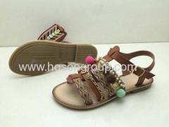 Bohemian style lady flat sandals