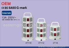 3 way SASO Saudi Arabia extension power socket with individual switch