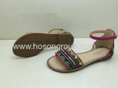 Open toe buckle flat women sandals