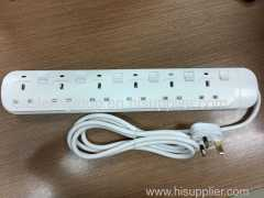 UK extension socket extension lead 2.0 meter electrical socket 6 Outlets