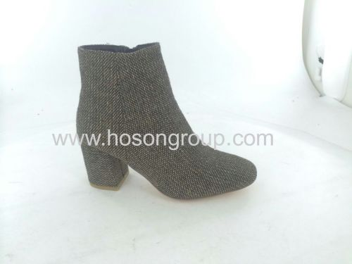Cloth chunky heel lady ankle boots