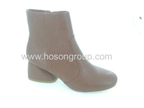 PU leather chunky heel zipper women boots