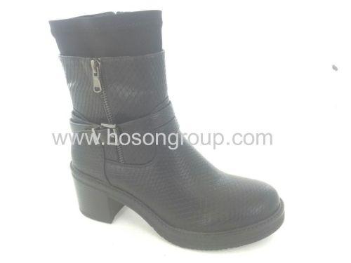 Snake texture zipper chunky heel women boots