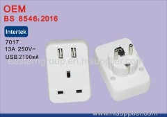 250V 10-16A uk to eu adapter Europe plug adaptors euro converter with 2 USB