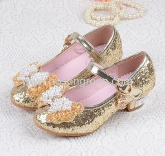 Children bowtie beading velcro dress sandals
