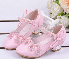 Girls low heel velcoro beading sandals