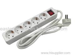 China supplier European standard power board with surge protection 5 way socket