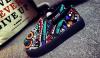 Patchwork clip on canvas shoes
