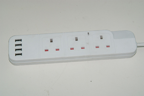 UK Standard Extention Socket Outlet Power Strip With 2 USB Ports