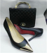 Gold metal toe ladies high heel shoes and matching handbags