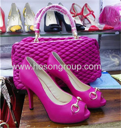 New style peep toe high heel ladies shoes with matching shoes
