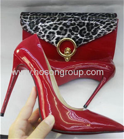 New Fashion Style Women Shoes With matching handbags red