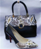Fashion snake pattern high heel shoes and bags
