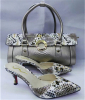 New fashion high heel slipper and snake pattern bags