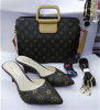 High heel slipper and matched handbag