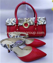 Ankle strap ladies high heel shoes with matching bags red