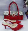 Red PU leather slipper with matching handbag