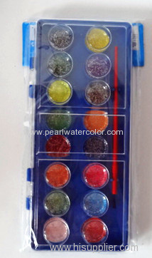 16 colors Glitter Semi moist Watercolor paint box