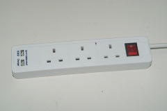 BS Approved UK 3 Way power strip with 2 usb charger