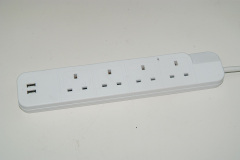 UK power strip with individual switch and surge protection