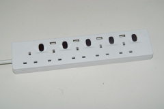 UK European Smart Power Strip 5 Way with USB charger