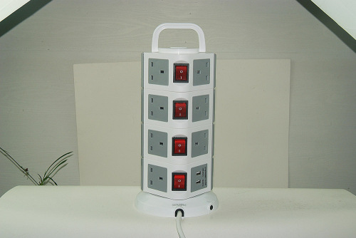 4 way UK type British extension power strip with 13A plug
