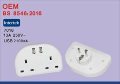 Bs8546 universal eu to uk travel adaptador de corriente convertidor con usb