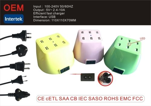 Высокое качество 6 портов USB зарядное устройство мобильный зарядное устройство
