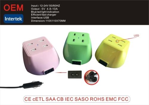 Выход 5.0v 10a черно-белое multi usb зарядное устройство с led