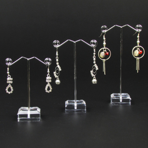 Metal Jewelry Earring Display Stand Rack Jewellery Holder 3 Pcs In 1 Set 6 Holes