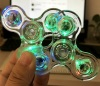 Wholesale Crystal Clear Led Fidget Spinners Light Up Transparent Fidgetly Relief Stress Finger Gyro EDC For Kids Adults