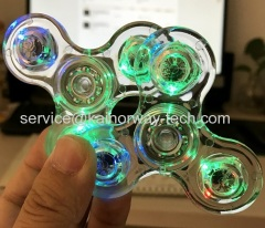 New Crystal Clear Transparent Hand Spinners Toys Rainbow Hand Toys Gifts With Flashing LED Lights For Anxiety Autism