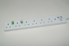 extension cord UK Socket 3 Pin British 6 plug extension board with 2 USB