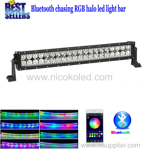 "Nicoko Straight 22""120W Chasing RGB Halo LED work Light Bar Head Lamp by Bluetooth Control for Off Road truck driving c"
