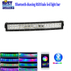 "Nicoko 22""120W Chasing RGB Halo LED work Light Bar Curved Head Lamp by Bluetooth Control for Off Road truck car 4x4"