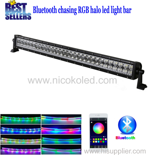"Nicoko straigt 32""180W Chaser RGB Halo LED Light Bar with Bluetooth APP Control for Off Road Driving Light ATVSUV Boatin"