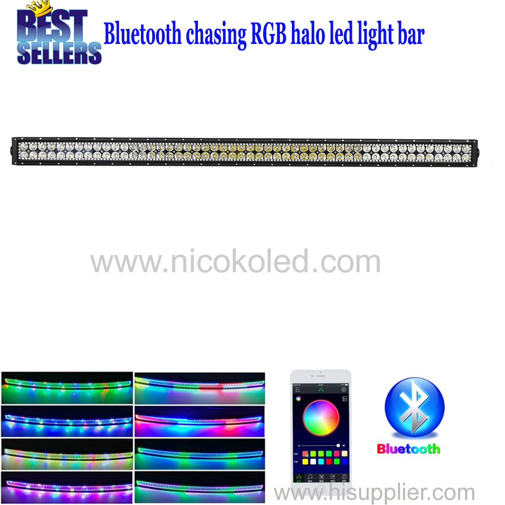 "Straight 42"" 240W Chasing RGB Halo LED Light Bar with Bluetooth App& Wiring Harness Control Combo Beam Off Road Light b"