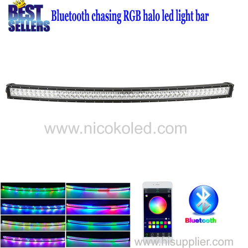 "Curved 42"" 240W Chasing RGB Halo LED Light Bar with Bluetooth App& Wiring Harness Control"
