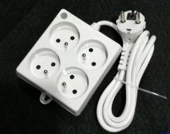 French type electric power extension socket with switch