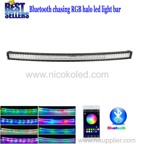 "Nicoko Curved 50"" 288W Chasing RGB Halo LED Light Bar Led lights by Bluetooth for ATV SUV Driving Cars Offroad LED"