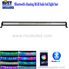 Nicoko 52inch 300W Straight Chasing RGB Halo LED Light Bar IP 67Waterproof for Off-road vehicle Bluetooth App control