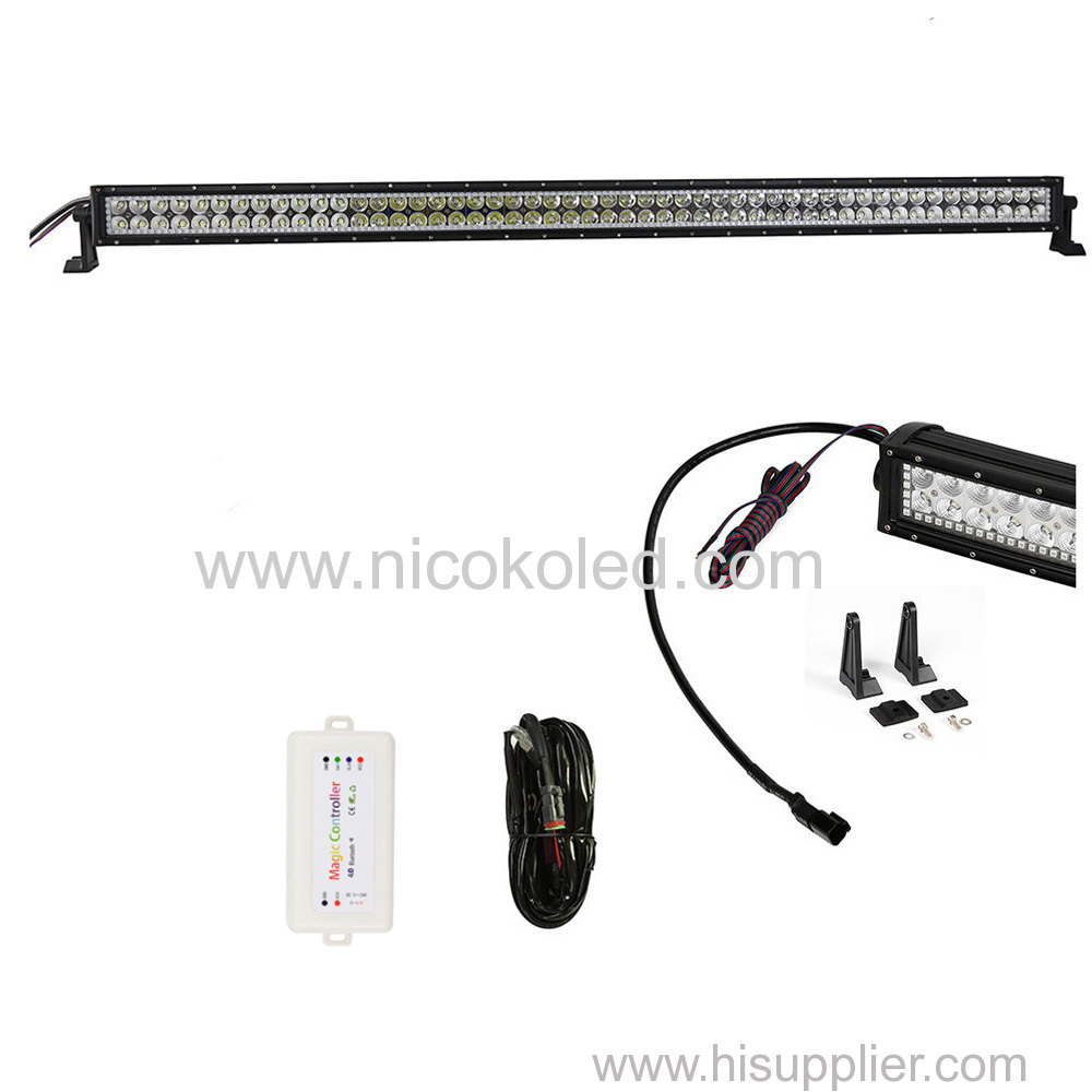 Nicoko 52inch 300W Chasing RGB Halo LED Light Bar straight Combo Beam IP67Waterproof for Off-road vehicle Bluetooth App