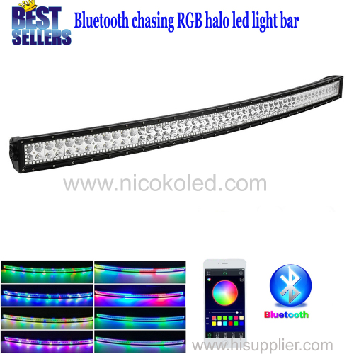 Nicoko Curved 52inch 300W Chasing RGB Halo LED Light Bar Spot Flood Combo Lamp with Bluetooth App control for Truck cars
