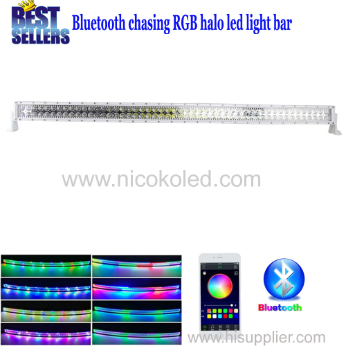 Nicoko 52inch 300W White housing Chasing RGB Halo LED Light Bar straight led lights led Offroad lightwith Bluetooth App