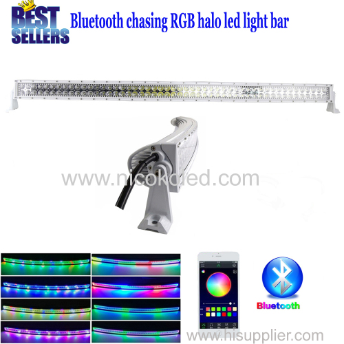 Nicoko 52inch Curved 300W White housing Chasing RGB Halo LED Light Bar led lights by Bluetooth App control for trucks S